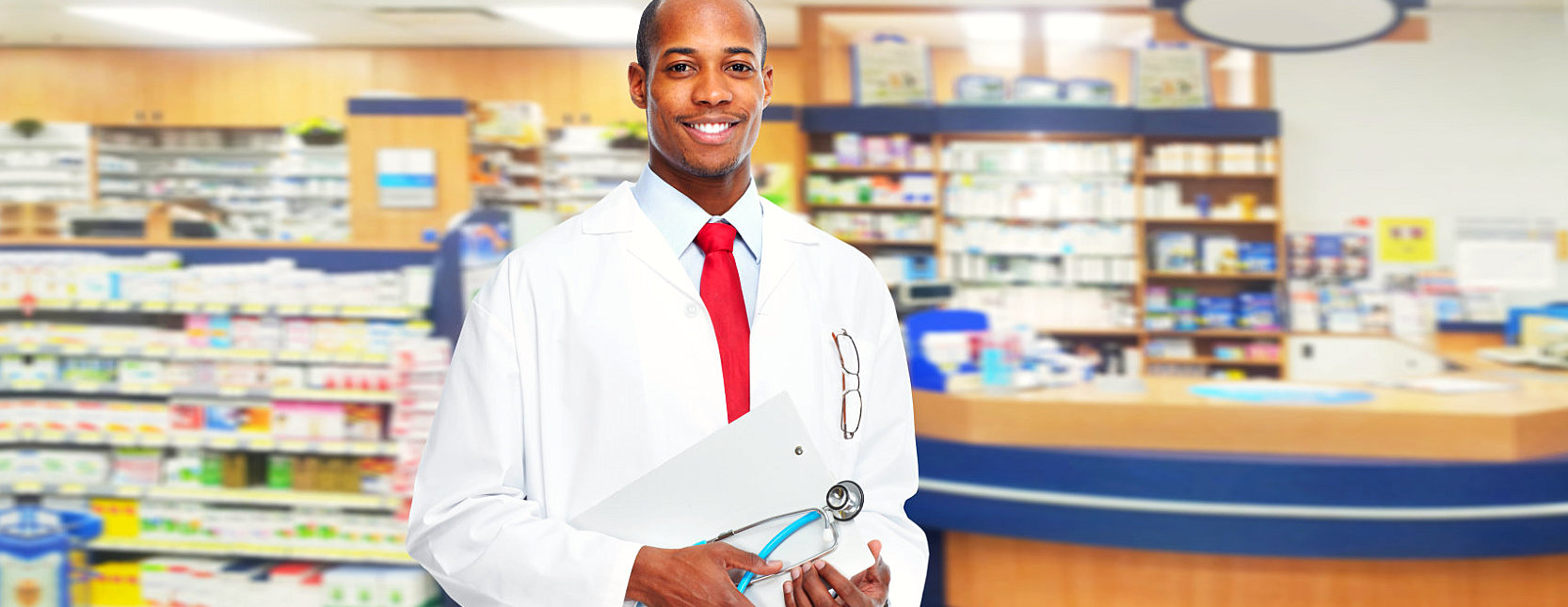 pharmacist holding his stethoscope and clipboard