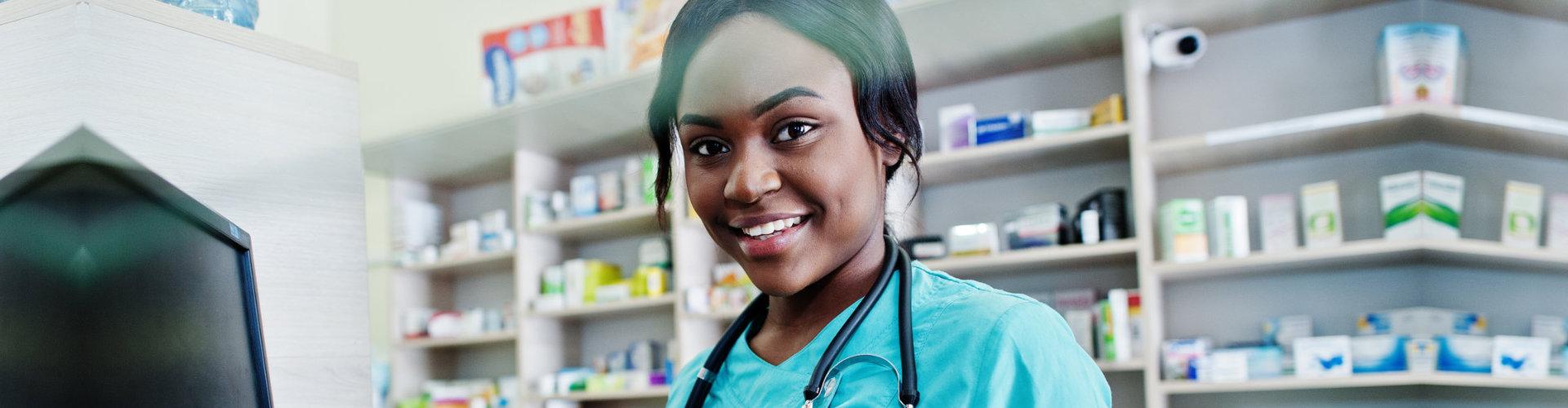 beautiful pharmacist wearing her stethoscope