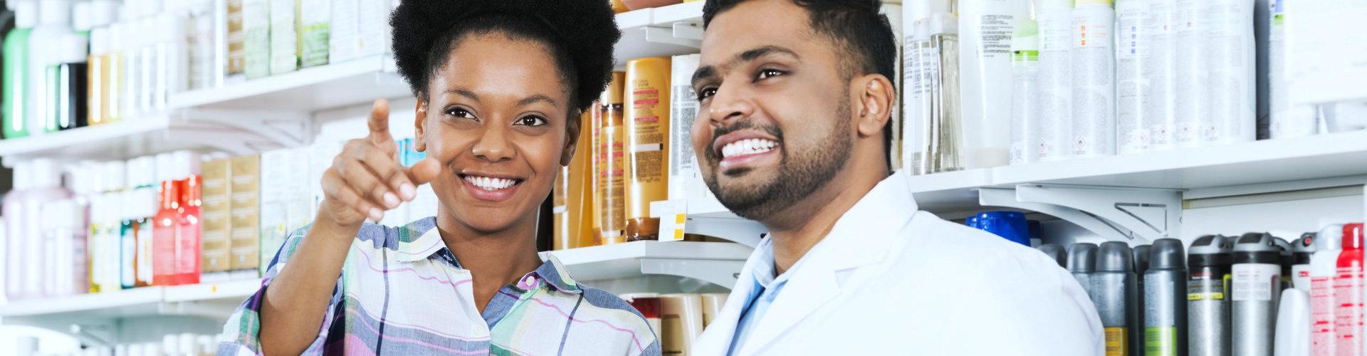 customer talking to a pharmacist